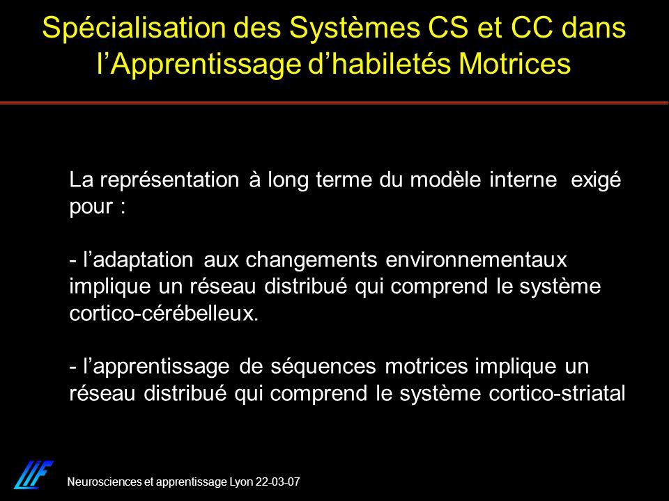 Neurosciences et apprentissage Lyon 22-03-07 Spécialisation des Systèmes CS et CC dans lApprentissage dhabiletés Motrices La représentation à long ter