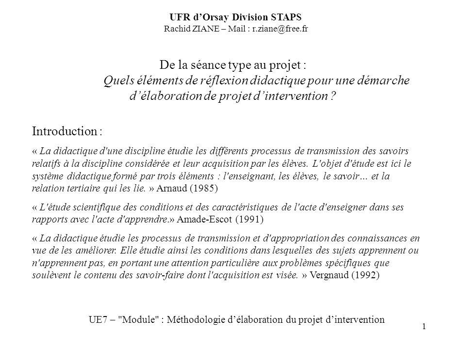 1 De la séance type au projet : Quels éléments de réflexion didactique pour une démarche délaboration de projet dintervention ? UFR dOrsay Division ST