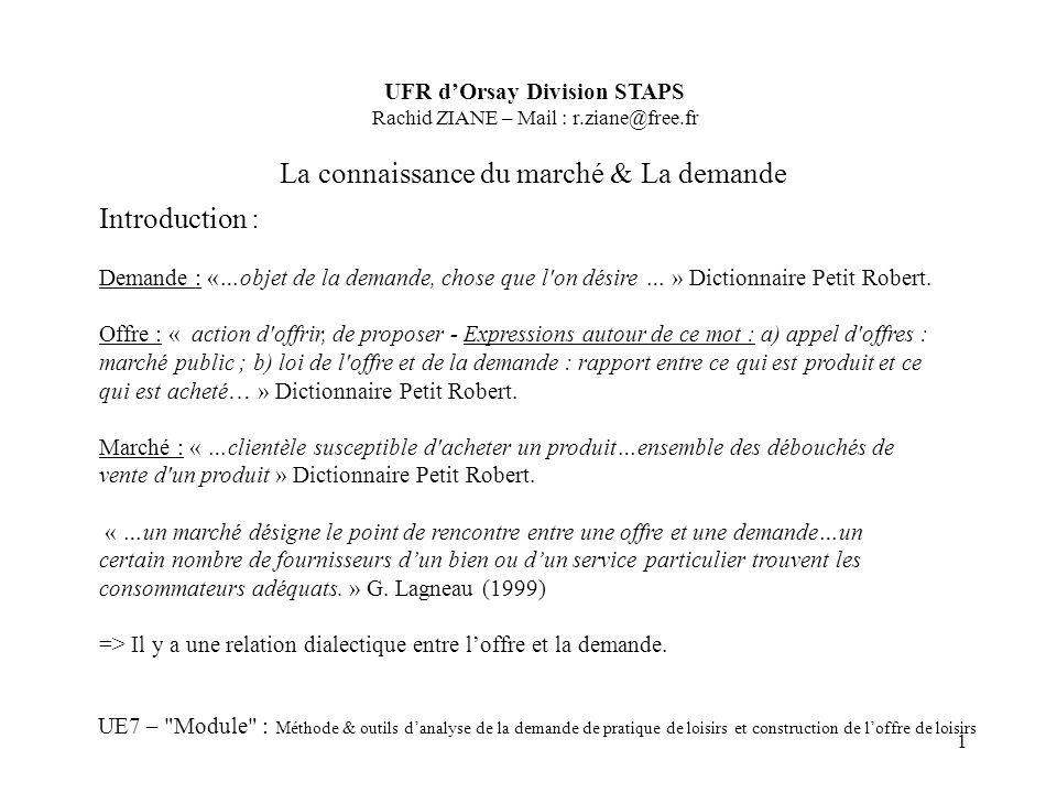 1 La connaissance du marché & La demande UFR dOrsay Division STAPS Rachid ZIANE – Mail : r.ziane@free.fr UE7 –