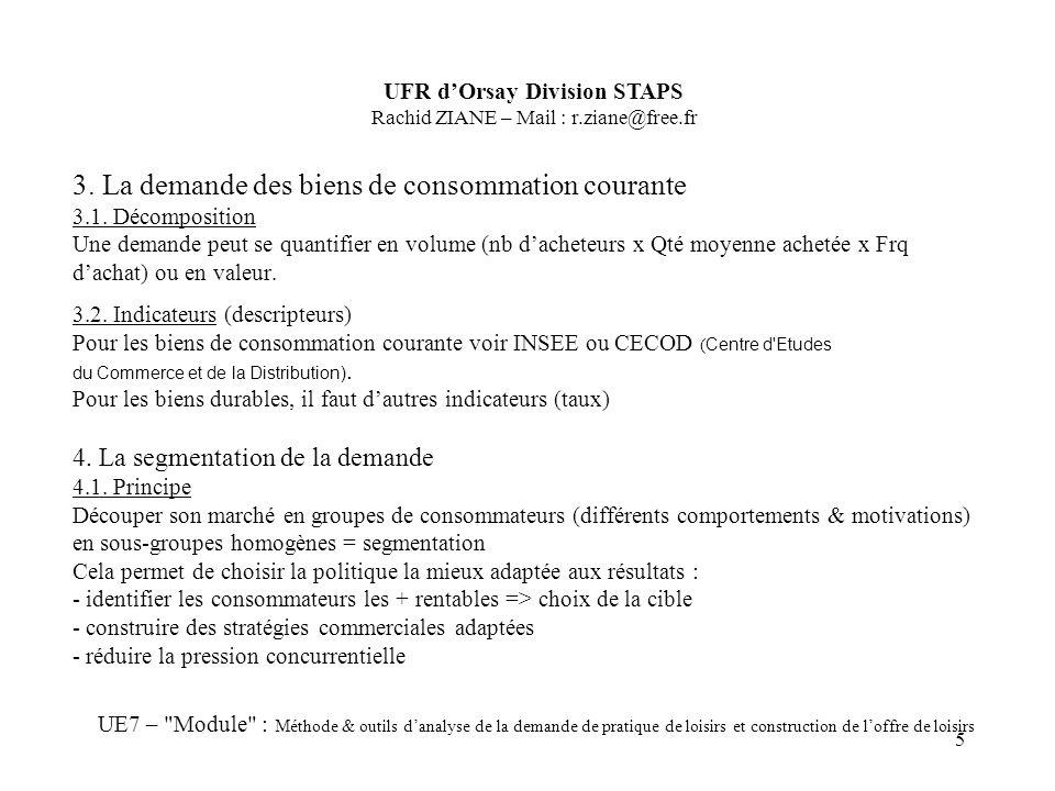 5 3. La demande des biens de consommation courante 3.1. Décomposition Une demande peut se quantifier en volume (nb dacheteurs x Qté moyenne achetée x