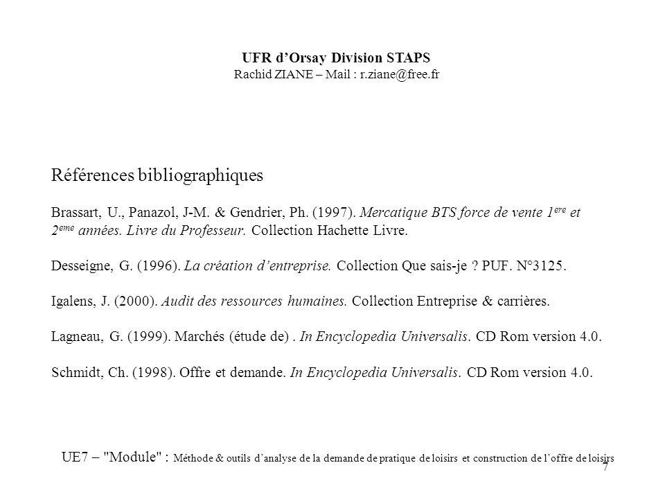 7 Références bibliographiques Brassart, U., Panazol, J-M. & Gendrier, Ph. (1997). Mercatique BTS force de vente 1 ere et 2 eme années. Livre du Profes
