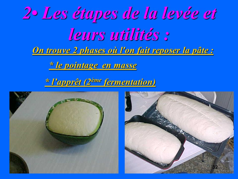 2 Les étapes de la levée et leurs utilités : On trouve 2 phases où l on fait reposer la pâte : * le pointage en masse * lapprêt (2 ème fermentation) 32