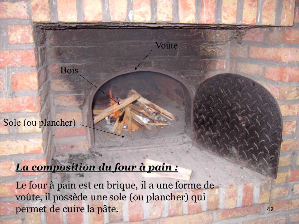 La composition du four à pain : Le four à pain est en brique, il a une forme de voûte, il possède une sole (ou plancher) qui permet de cuire la pâte.