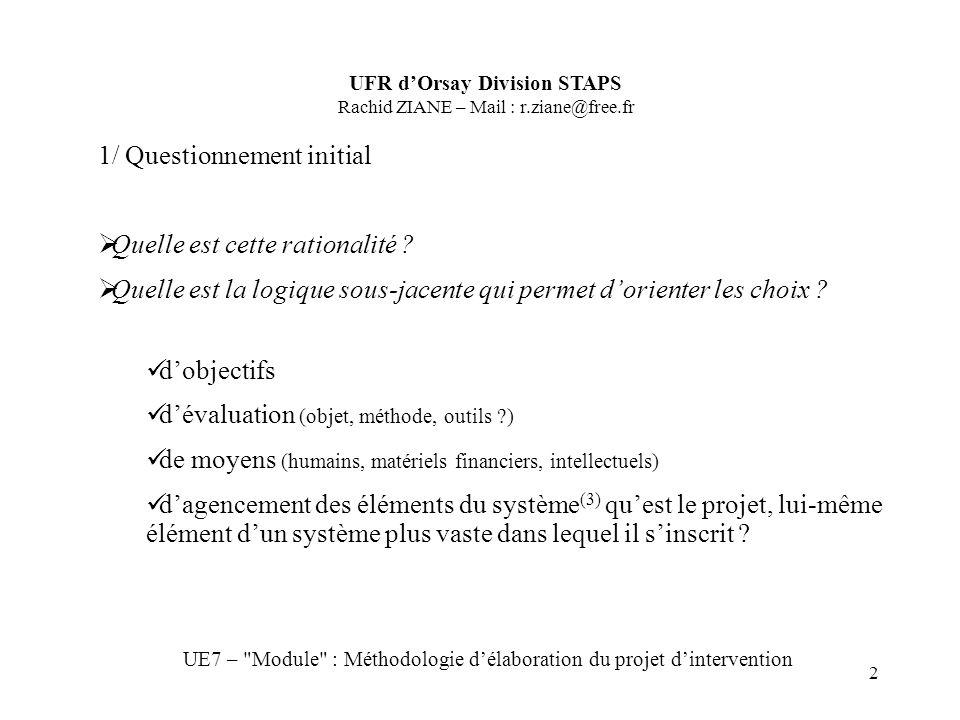2 UFR dOrsay Division STAPS Rachid ZIANE – Mail : r.ziane@free.fr UE7 – Module : Méthodologie délaboration du projet dintervention 1/ Questionnement initial Quelle est cette rationalité .