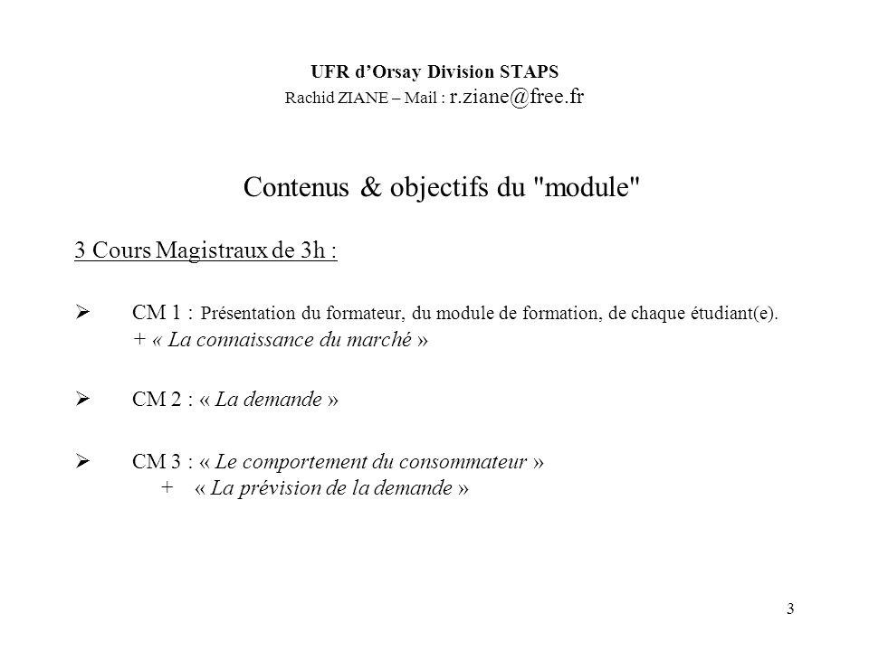 3 Contenus & objectifs du module 3 Cours Magistraux de 3h : CM 1 : Présentation du formateur, du module de formation, de chaque étudiant(e).