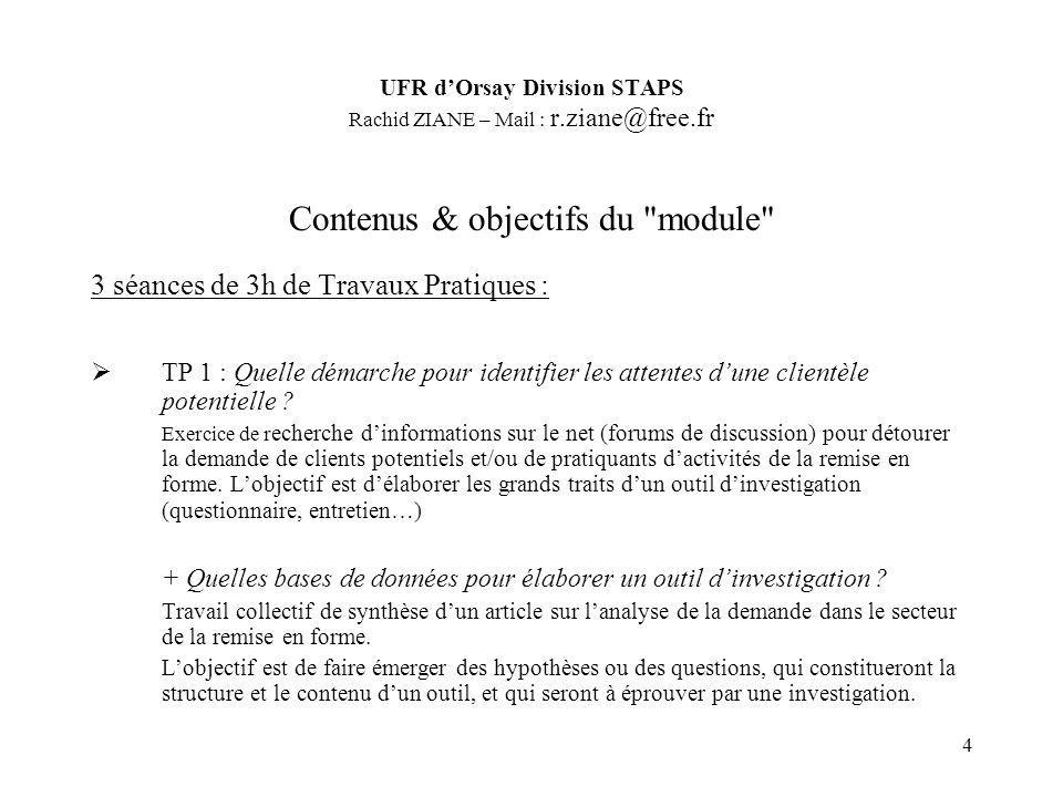 4 Contenus & objectifs du module 3 séances de 3h de Travaux Pratiques : TP 1 : Quelle démarche pour identifier les attentes dune clientèle potentielle .