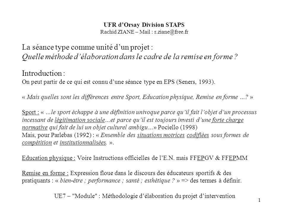 1 Introduction : On peut partir de ce qui est connu dune séance type en EPS (Seners, 1993). « Mais quelles sont les différences entre Sport, Education