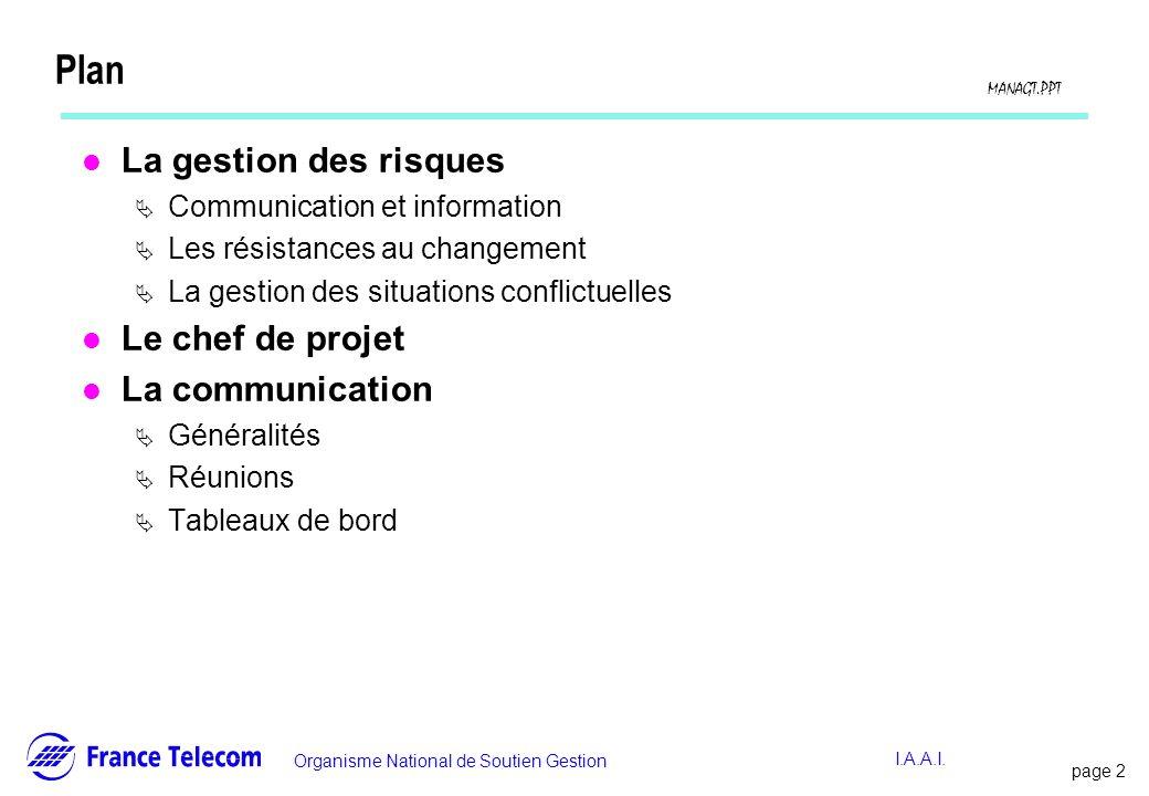 page 2 Information interne Organisme National de Soutien Gestion MANAGT.PPT I.A.A.I. Plan l La gestion des risques Communication et information Les ré