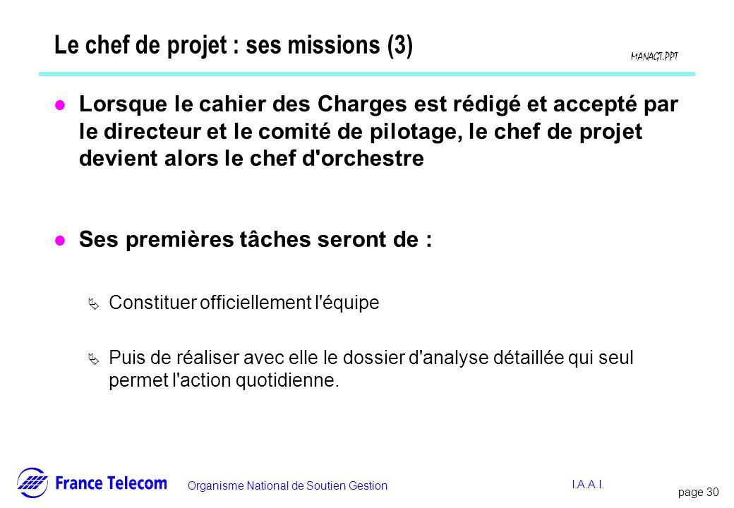 page 31 Information interne Organisme National de Soutien Gestion MANAGT.PPT I.A.A.I.