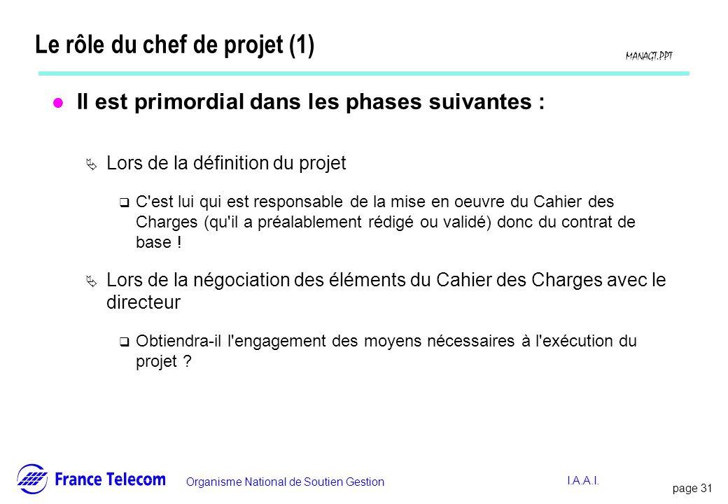 page 31 Information interne Organisme National de Soutien Gestion MANAGT.PPT I.A.A.I. Le rôle du chef de projet (1) l Il est primordial dans les phase