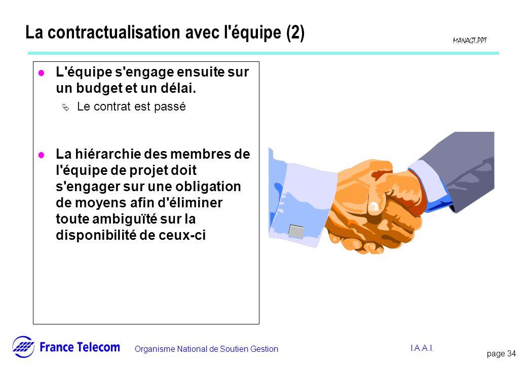 page 34 Information interne Organisme National de Soutien Gestion MANAGT.PPT I.A.A.I. La contractualisation avec l'équipe (2) l L'équipe s'engage ensu
