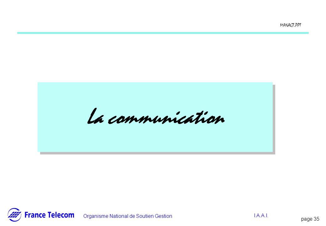 page 36 Information interne Organisme National de Soutien Gestion MANAGT.PPT I.A.A.I.