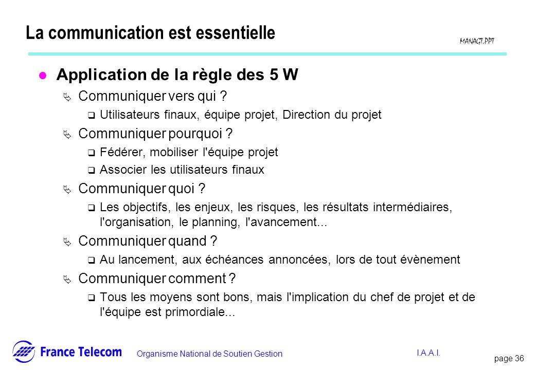 page 36 Information interne Organisme National de Soutien Gestion MANAGT.PPT I.A.A.I. La communication est essentielle l Application de la règle des 5