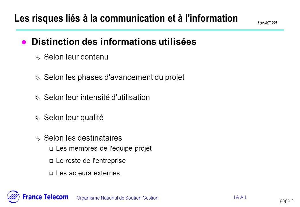 page 4 Information interne Organisme National de Soutien Gestion MANAGT.PPT I.A.A.I. Les risques liés à la communication et à l'information l Distinct