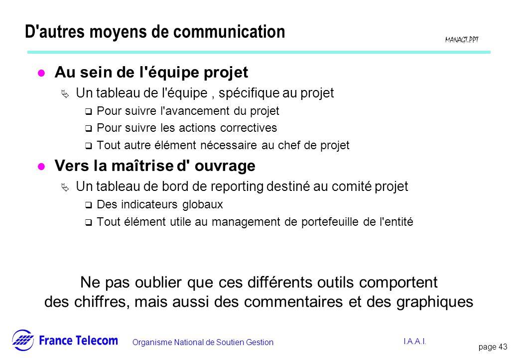 page 44 Information interne Organisme National de Soutien Gestion MANAGT.PPT I.A.A.I.