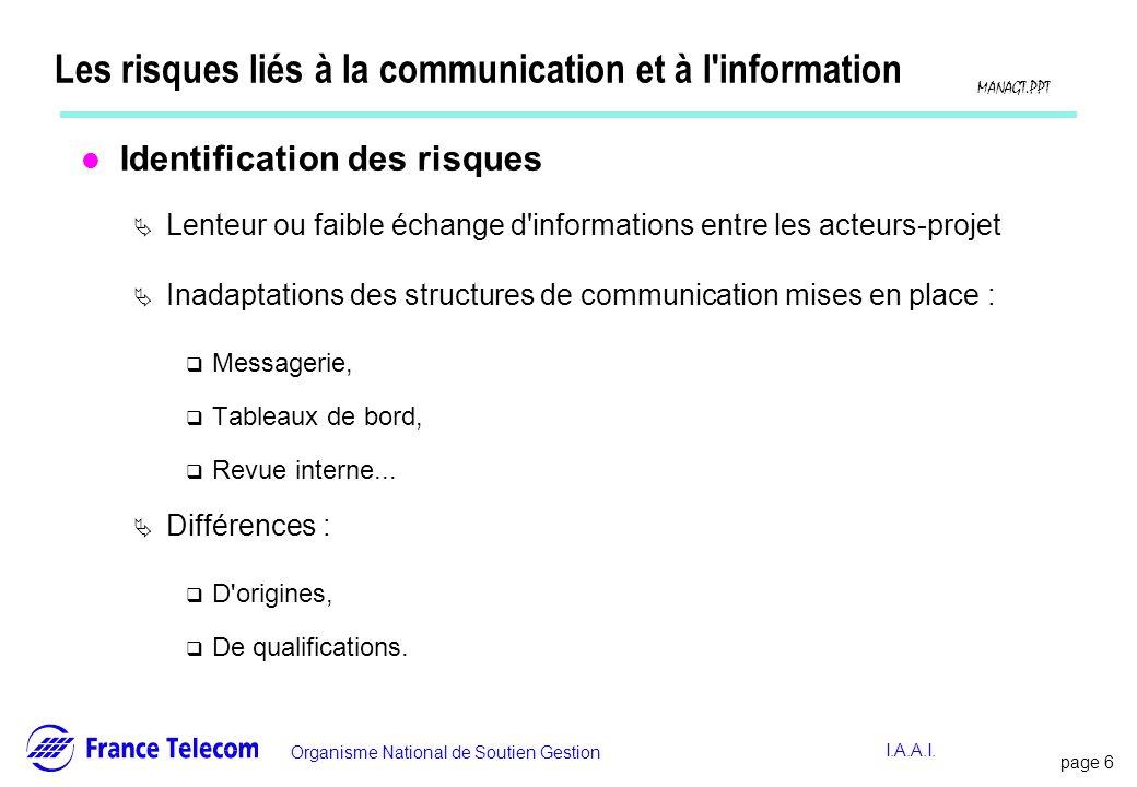 page 6 Information interne Organisme National de Soutien Gestion MANAGT.PPT I.A.A.I. Les risques liés à la communication et à l'information l Identifi
