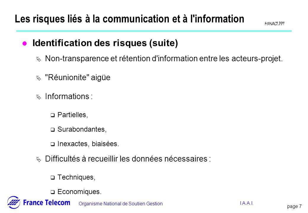 page 7 Information interne Organisme National de Soutien Gestion MANAGT.PPT I.A.A.I. Les risques liés à la communication et à l'information l Identifi