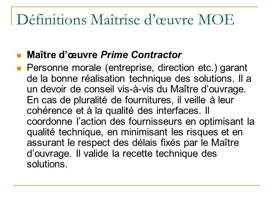 Définitions Maîtrise dœuvre MOE Maître dœuvre Prime Contractor Personne morale (entreprise, direction etc.) garant de la bonne réalisation technique d