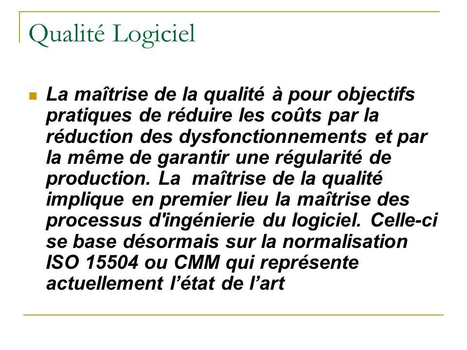 Qualité Logiciel La maîtrise de la qualité à pour objectifs pratiques de réduire les coûts par la réduction des dysfonctionnements et par la même de g