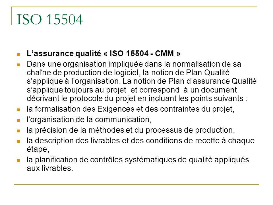 ISO 15504 Lassurance qualité « ISO 15504 - CMM » Dans une organisation impliquée dans la normalisation de sa chaîne de production de logiciel, la noti
