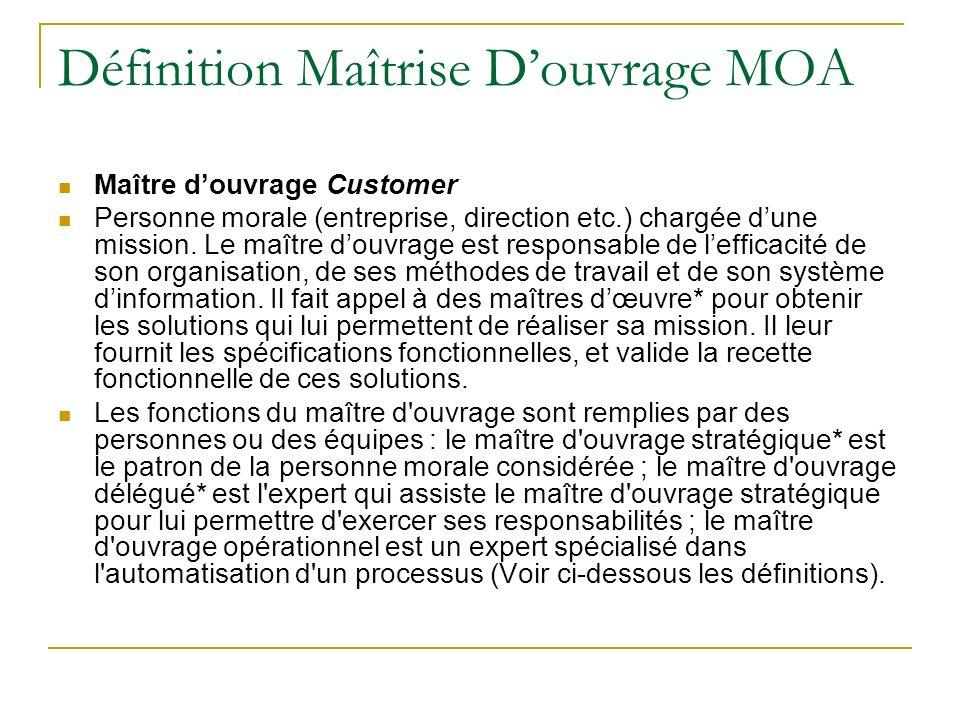 Définition Maîtrise Douvrage MOA Maître douvrage Customer Personne morale (entreprise, direction etc.) chargée dune mission. Le maître douvrage est re