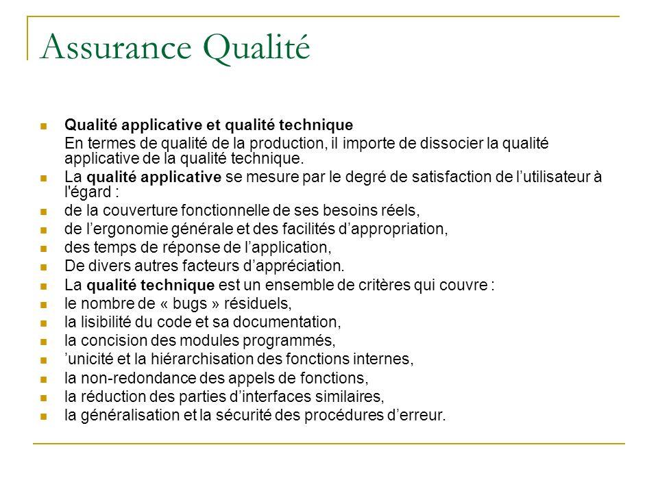 Assurance Qualité Qualité applicative et qualité technique En termes de qualité de la production, il importe de dissocier la qualité applicative de la