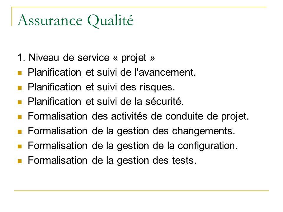 Assurance Qualité 1. Niveau de service « projet » Planification et suivi de l'avancement. Planification et suivi des risques. Planification et suivi d