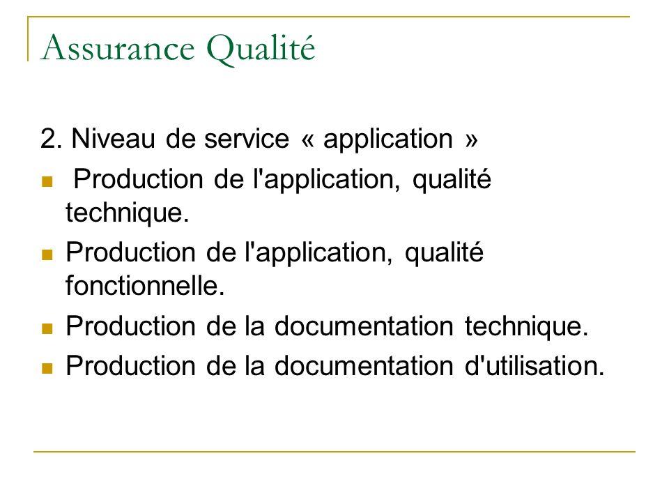 Assurance Qualité 2. Niveau de service « application » Production de l'application, qualité technique. Production de l'application, qualité fonctionne