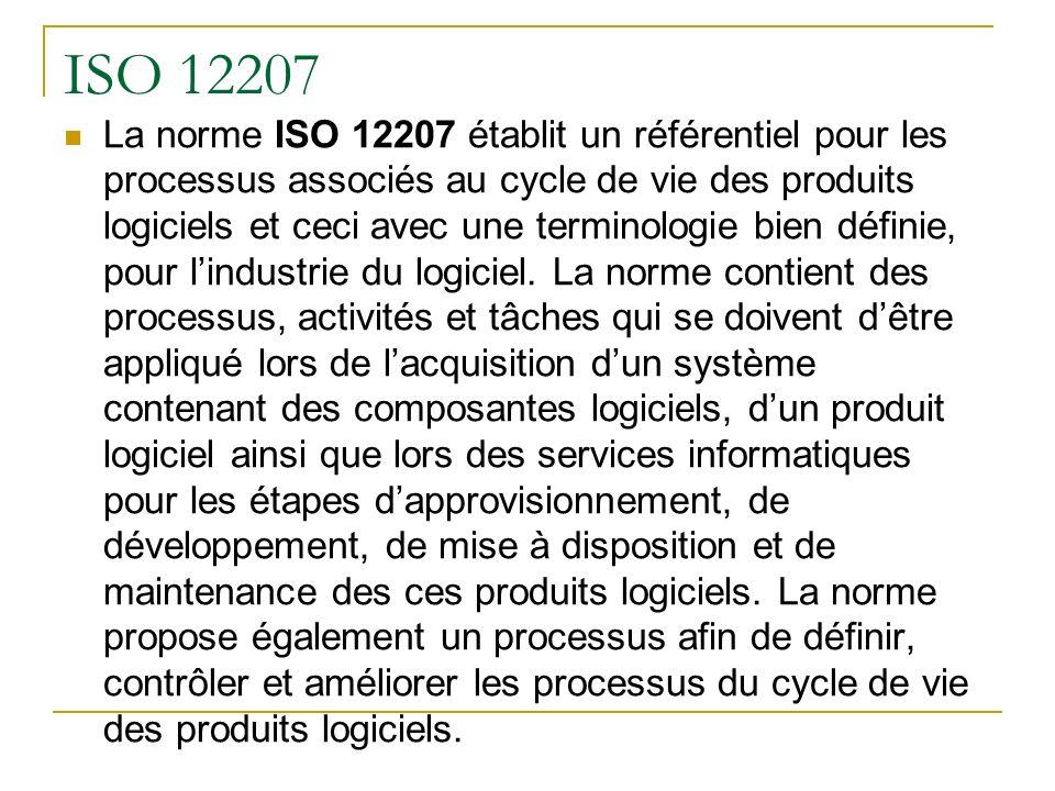 ISO 12207 La norme ISO 12207 établit un référentiel pour les processus associés au cycle de vie des produits logiciels et ceci avec une terminologie b