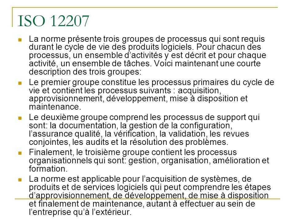 ISO 12207 La norme présente trois groupes de processus qui sont requis durant le cycle de vie des produits logiciels. Pour chacun des processus, un en