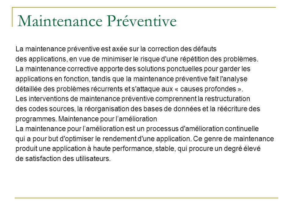 Maintenance Préventive La maintenance préventive est axée sur la correction des défauts des applications, en vue de minimiser le risque d'une répétiti