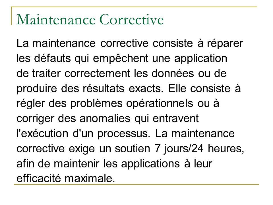 Maintenance Corrective La maintenance corrective consiste à réparer les défauts qui empêchent une application de traiter correctement les données ou d