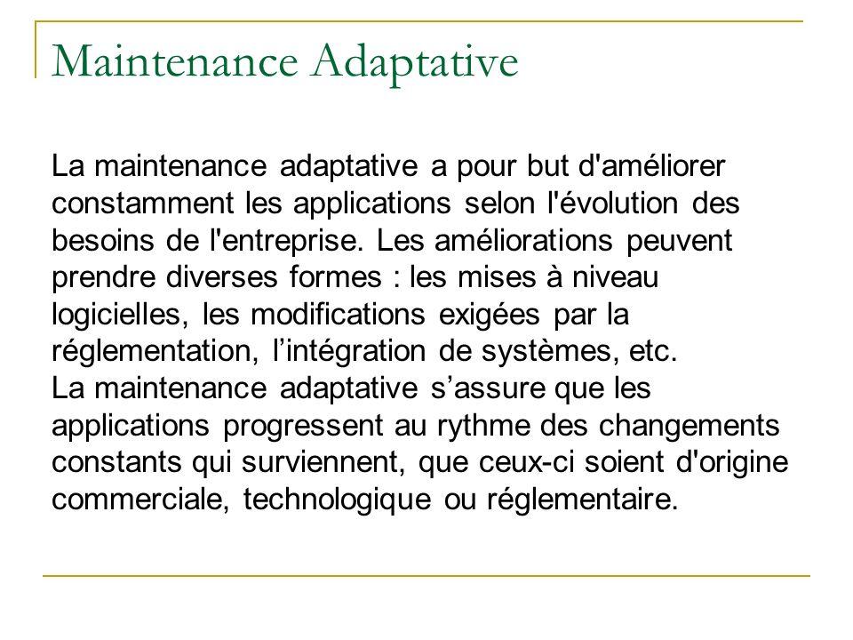 Maintenance Adaptative La maintenance adaptative a pour but d'améliorer constamment les applications selon l'évolution des besoins de l'entreprise. Le