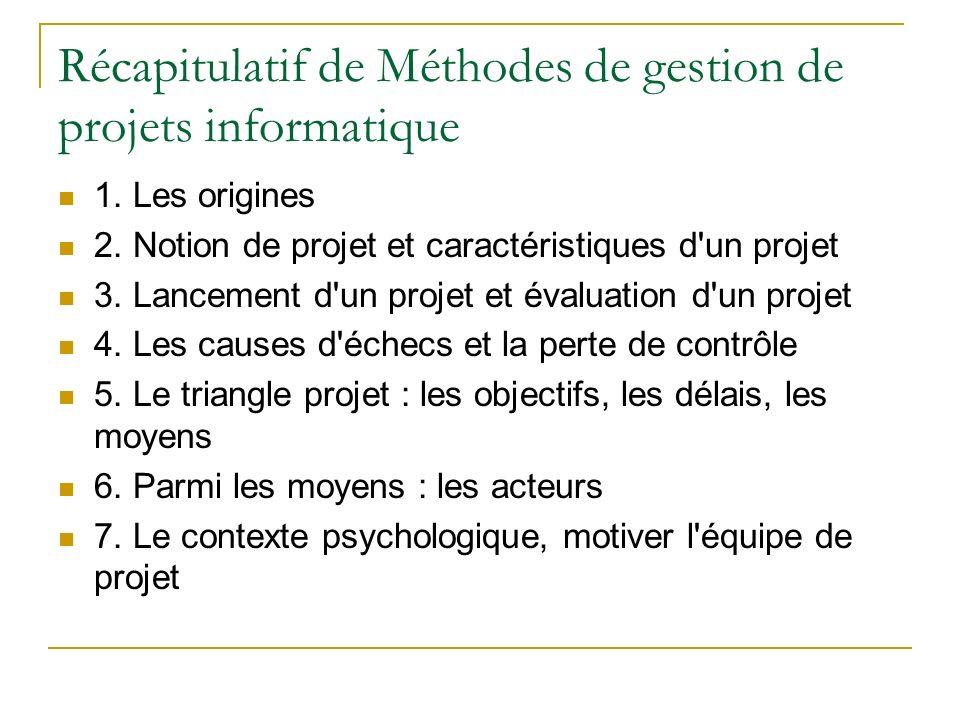 Récapitulatif de Méthodes de gestion de projets informatique 1. Les origines 2. Notion de projet et caractéristiques d'un projet 3. Lancement d'un pro