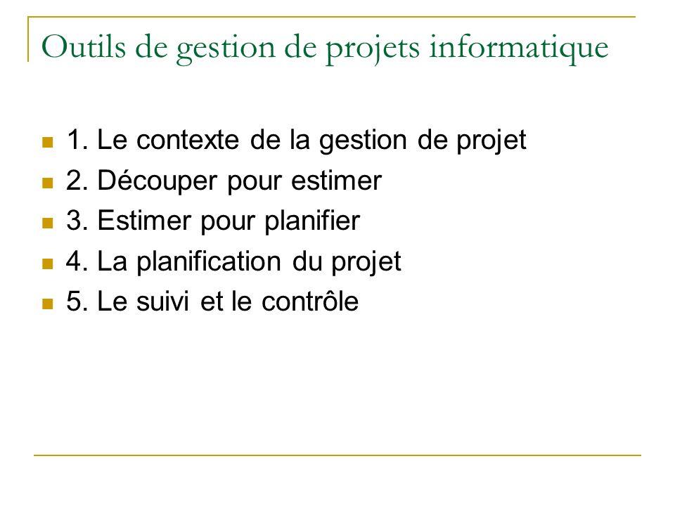 Outils de gestion de projets informatique 1. Le contexte de la gestion de projet 2. Découper pour estimer 3. Estimer pour planifier 4. La planificatio