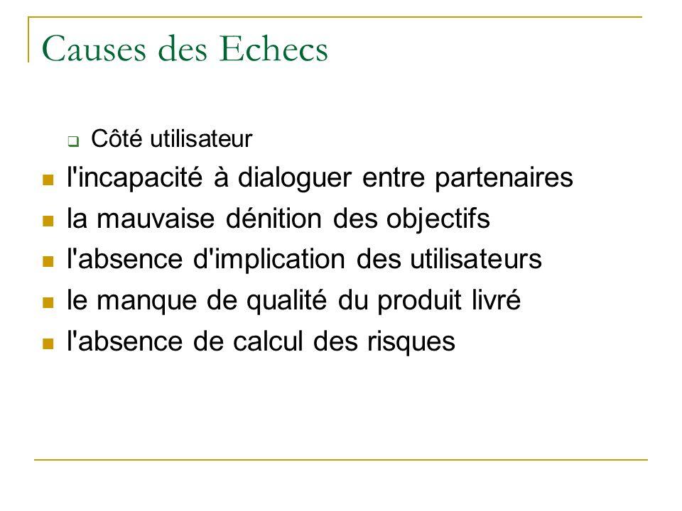 Causes des Echecs Côté utilisateur l'incapacité à dialoguer entre partenaires la mauvaise dénition des objectifs l'absence d'implication des utilisate