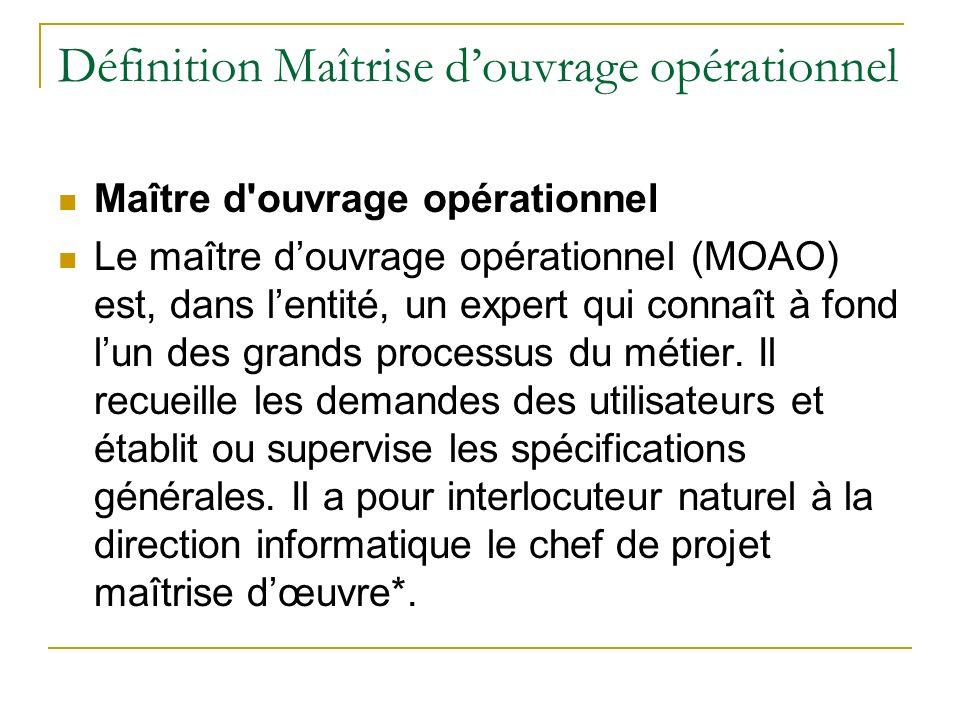 Définition Maîtrise douvrage opérationnel Maître d'ouvrage opérationnel Le maître douvrage opérationnel (MOAO) est, dans lentité, un expert qui connaî