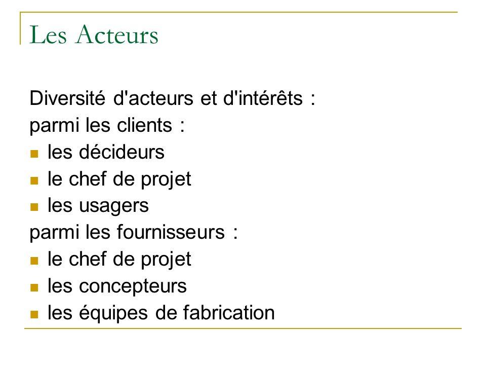 Les Acteurs Diversité d'acteurs et d'intérêts : parmi les clients : les décideurs le chef de projet les usagers parmi les fournisseurs : le chef de pr