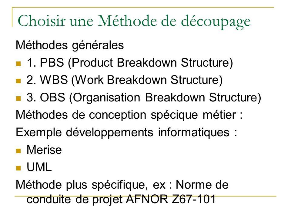 Choisir une Méthode de découpage Méthodes générales 1. PBS (Product Breakdown Structure) 2. WBS (Work Breakdown Structure) 3. OBS (Organisation Breakd