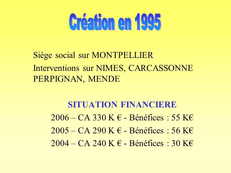 Siège social sur MONTPELLIER Interventions sur NIMES, CARCASSONNE PERPIGNAN, MENDE SITUATION FINANCIERE 2006 – CA 330 K - Bénéfices : 55 K 2005 – CA 290 K - Bénéfices : 56 K 2004 – CA 240 K - Bénéfices : 30 K