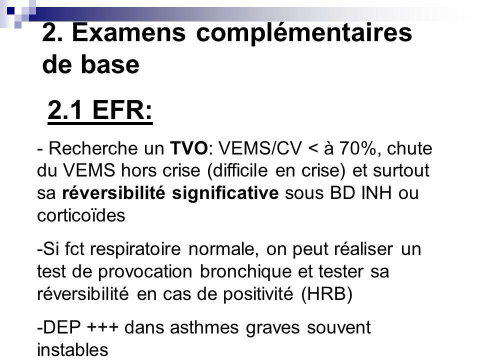 2. Examens complémentaires de base 2.1 EFR: - Recherche un TVO: VEMS/CV < à 70%, chute du VEMS hors crise (difficile en crise) et surtout sa réversibi