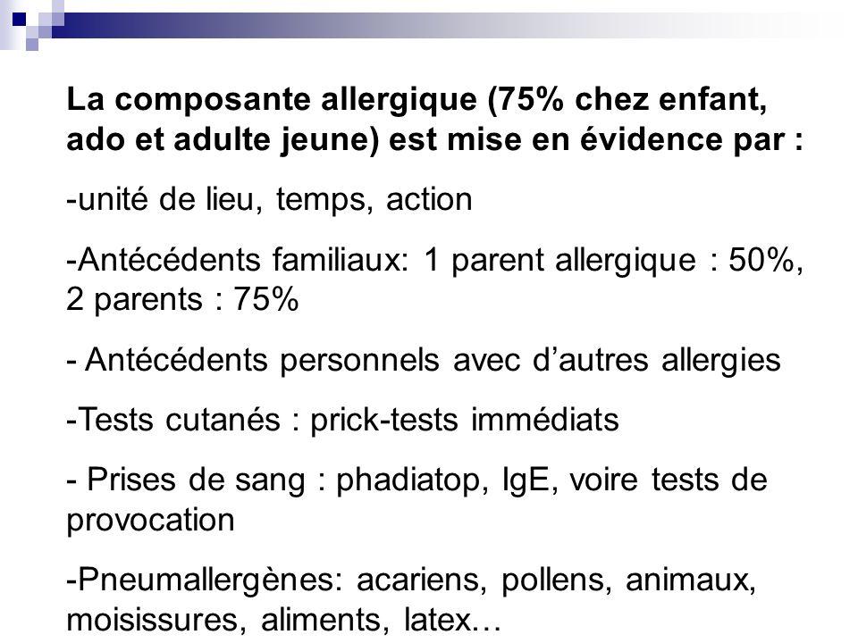 La composante allergique (75% chez enfant, ado et adulte jeune) est mise en évidence par : -unité de lieu, temps, action -Antécédents familiaux: 1 par