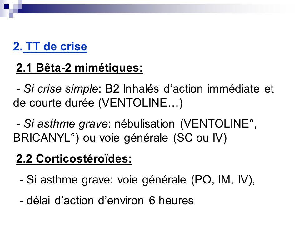 2. TT de crise 2.1 Bêta-2 mimétiques: - Si crise simple: B2 Inhalés daction immédiate et de courte durée (VENTOLINE…) - Si asthme grave: nébulisation