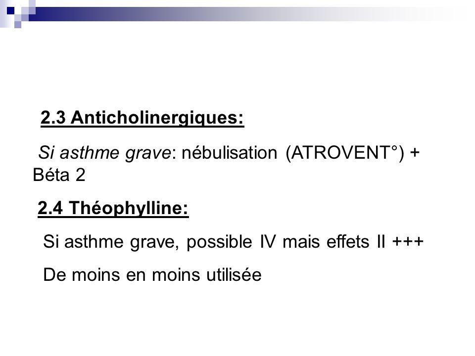 2.3 Anticholinergiques: Si asthme grave: nébulisation (ATROVENT°) + Béta 2 2.4 Théophylline: Si asthme grave, possible IV mais effets II +++ De moins