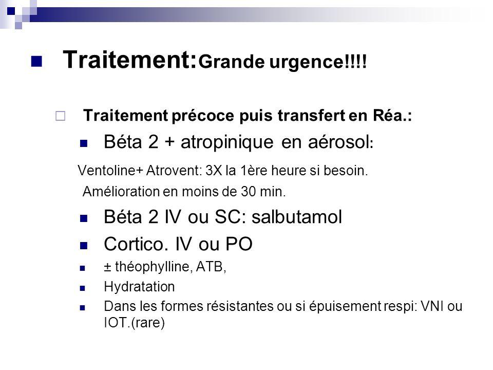 Traitement: Grande urgence!!!! Traitement précoce puis transfert en Réa.: Béta 2 + atropinique en aérosol : Ventoline+ Atrovent: 3X la 1ère heure si b