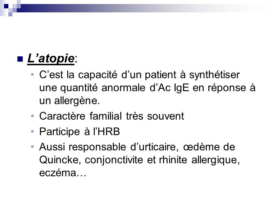 Latopie: Cest la capacité dun patient à synthétiser une quantité anormale dAc IgE en réponse à un allergène. Caractère familial très souvent Participe