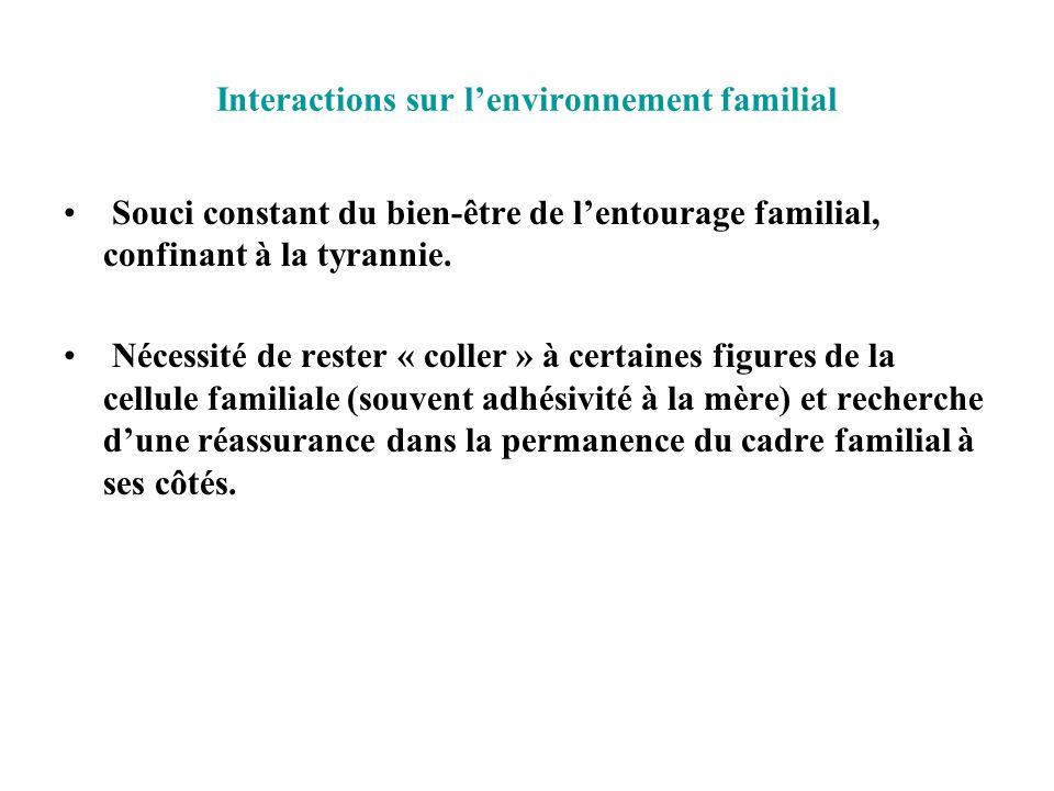 Interactions sur lenvironnement familial Souci constant du bien-être de lentourage familial, confinant à la tyrannie. Nécessité de rester « coller » à