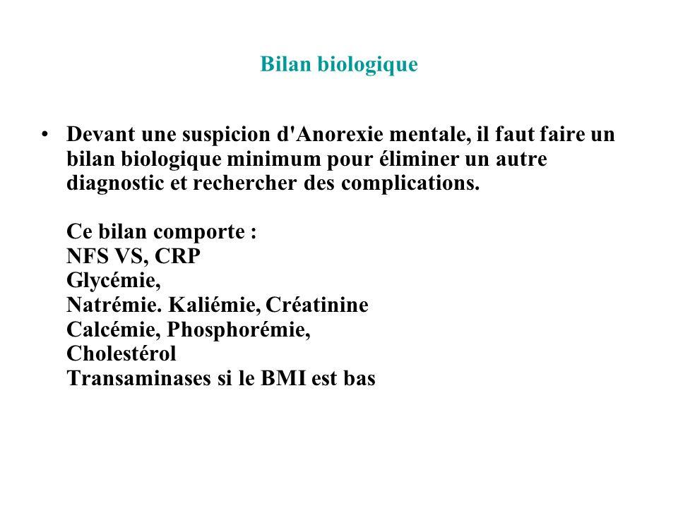 Bilan biologique Devant une suspicion d'Anorexie mentale, il faut faire un bilan biologique minimum pour éliminer un autre diagnostic et rechercher de