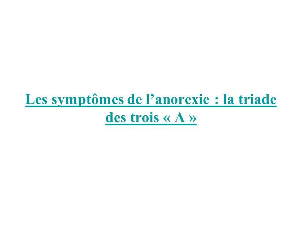 Les symptômes de lanorexie : la triade des trois « A »