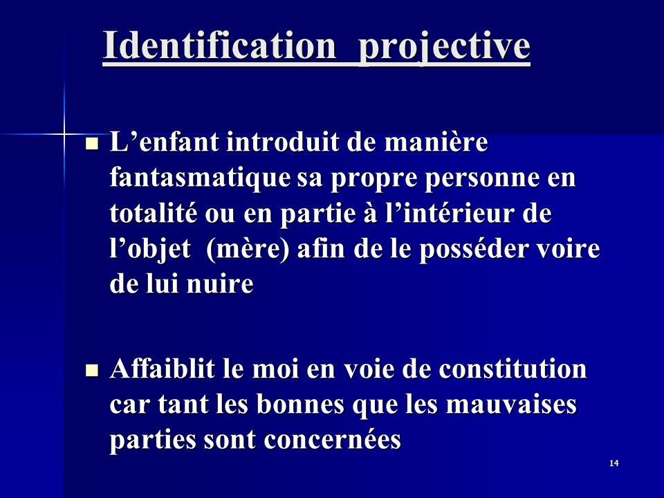 14 Identification projective Lenfant introduit de manière fantasmatique sa propre personne en totalité ou en partie à lintérieur de lobjet (mère) afin